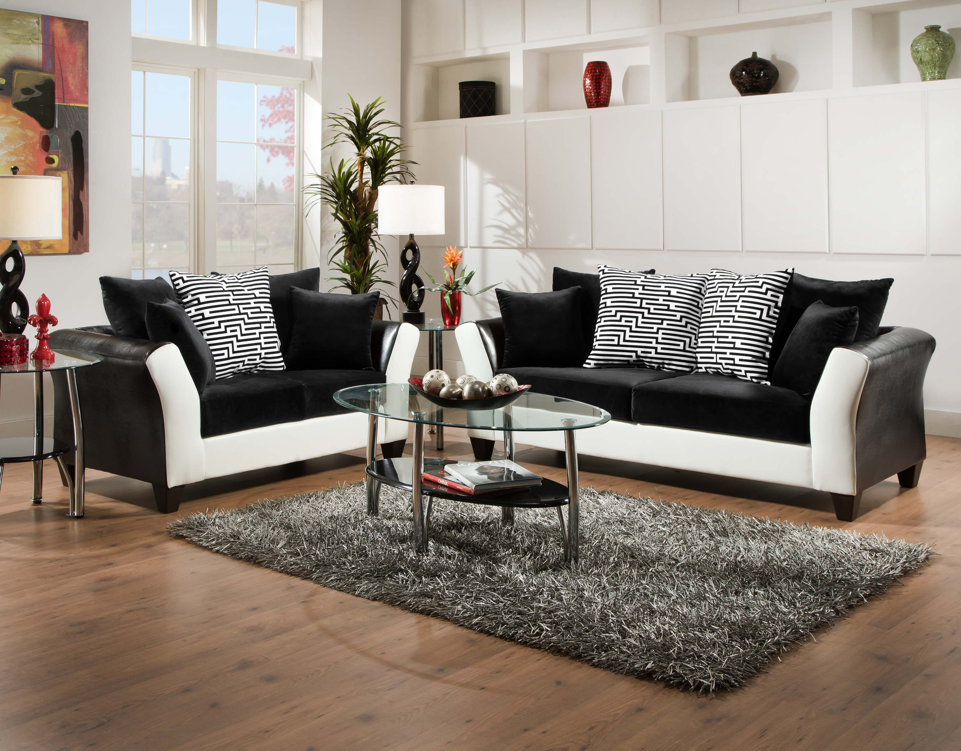 Beautiful Couch And Loveseat Sets With Black White Color Design Gl Top Table Grey