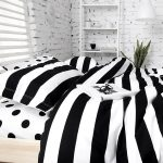 Bedding With Black And White Polka Dot Sheets And Stripped Design