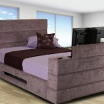 Best Beds With Built In TV With Light Purple Mattress And Purple Pillow