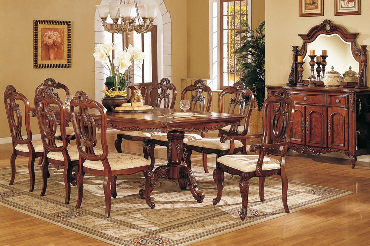 Perfect formal dining room sets for 8 homesfeed for Wooden dining room furniture