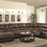 Big Brown Leather Sectional Sofas With Recliners And Chaise With Round Wooden Coffee Table And Cool Rug