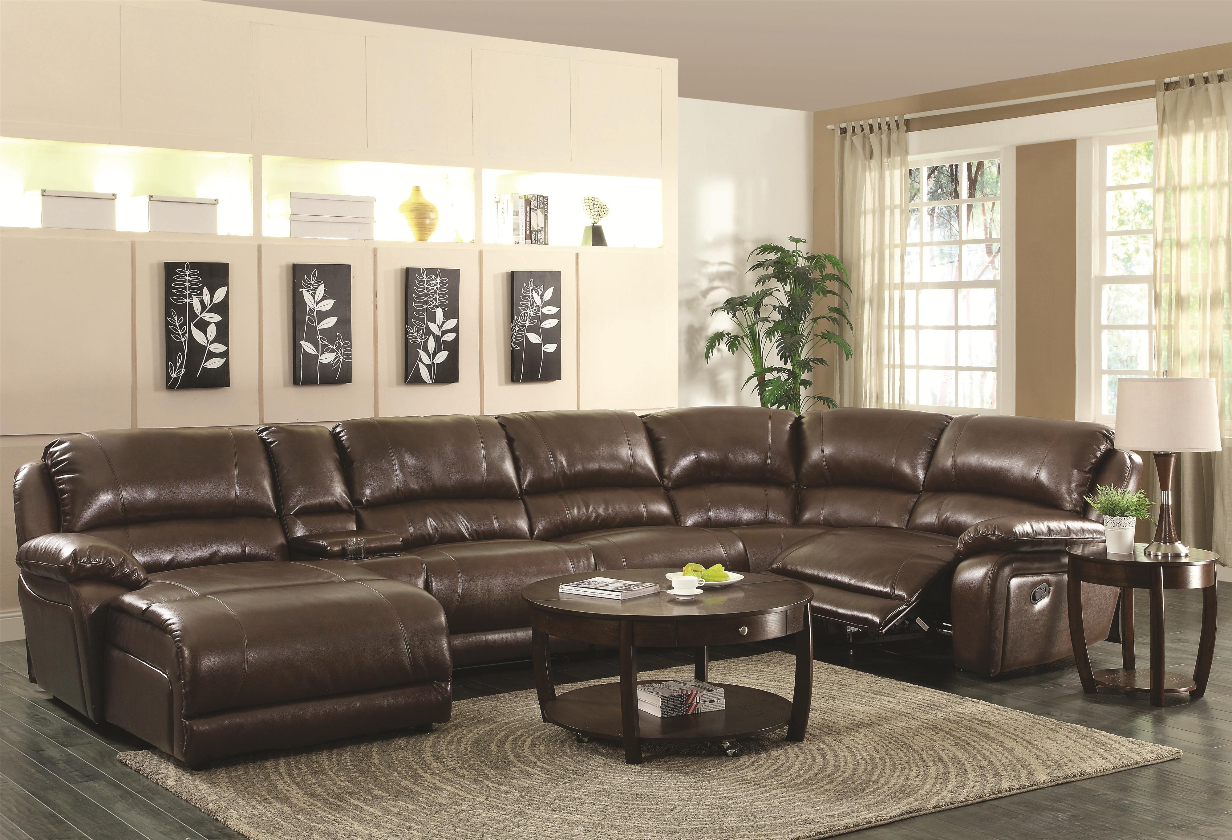 Big Brown Leather Sectional Sofas With Recliners And Chaise With Round  Wooden Coffee Table And Cool