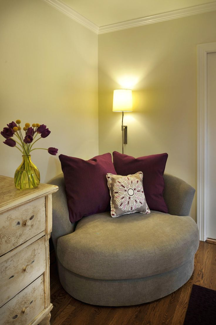 Big Round Comfy Chairs For Small Spaces With Purple Pillows Rustic Wooden  Cabinet And Floor Lamp