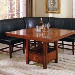 Black Dining Room Benches With Backs With Furnished Wooden Table Plus Storage