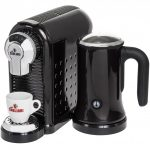Black Espresso Machine With Milk Frother For Home