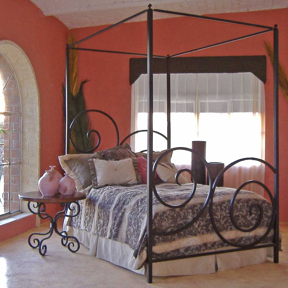 black iron canopy bed frame in bedroom with red wall color - Traditional Canopy 2016