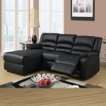 Black Leather Sectional Sofas With Recliners And Chaise With Fur Rug