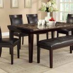Black Leather Wooden Dinette Sets With Bench And Marble Top Table