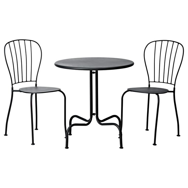 Black Outdoor Bistro Set Ikea With Round Table Top
