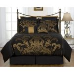 Black and gold comforter set product for full size bed frame