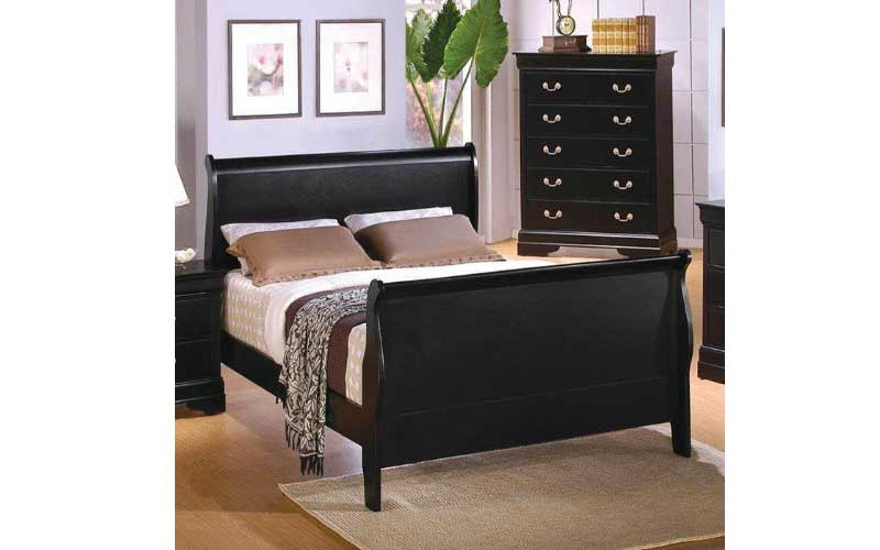 black finished sleigh bed frame design with headboard and footboard - Full Size Sleigh Bed Frame