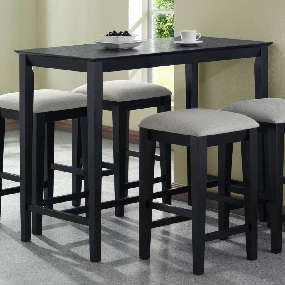 Black Finished Wood IKEA Counter Height Table Idea With Four Small Benches  With Grey Cushions
