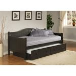 Black finished wooden daybed idea in full size and with bed addition