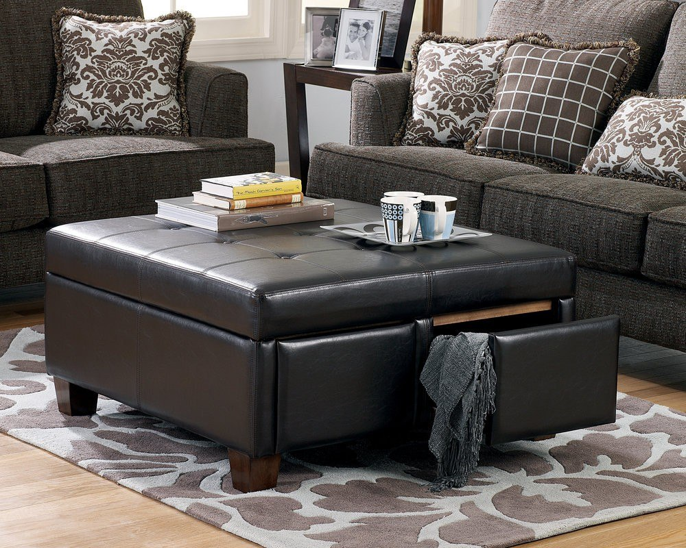 unique and creative tufted leather ottoman coffee table homesfeed. Black Bedroom Furniture Sets. Home Design Ideas
