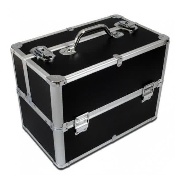 Black Makeup Storage Case With Silver Frame