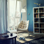 Blue Lounge Comfy Chairs For Small Spaces With Floor Lamp White Bookshelf And Round Table
