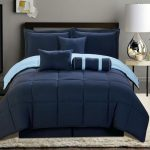 Blue navy bed comforter set which can be reversed in light blue color scheme in king size full sized white shag rug minimalist bedside table with white top