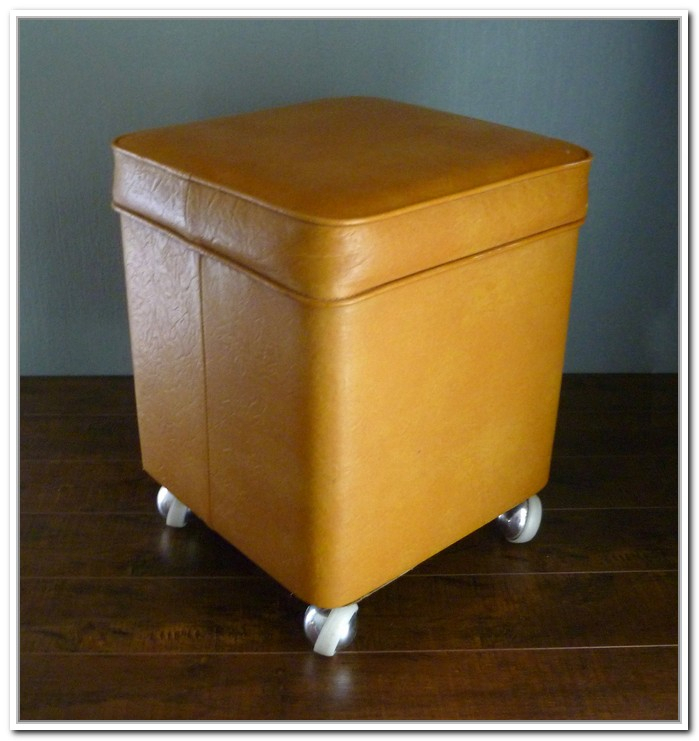 Bright Orange Ottoman With Storage Solution And Casters