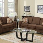 Brown Couch And Loveseat Sets With Polcadot Pillow Pattern Glass Top Oval Table And Cool Rug