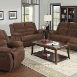Brown Couch And Loveseat Sets With Reclining Design And Wooden Table With Rack And White Stylish Rug