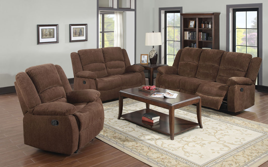 Brown Couch And Loveseat Sets With Reclining Design And Wooden Table With  Rack And White Stylish