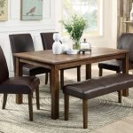 Brown Dinette Sets With Bench And Armless Chairs Plus Decorative Rug