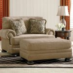 Brown Oversized Couches Living Room With Ottoman And Double Pillows