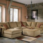 Brown Sectional Oversized Couches Living Room With Cool RUg Rustic Table And Chandelier