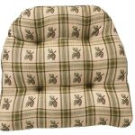 Brown country chair pad with strips and florals motifs