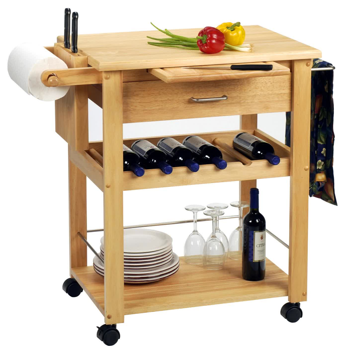 Get Practical and Movable Carts with Butcher Blocks on Wheels : HomesFeed