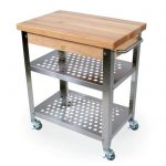 Butcher block to cart idea with lightweight metal shelves and wheels