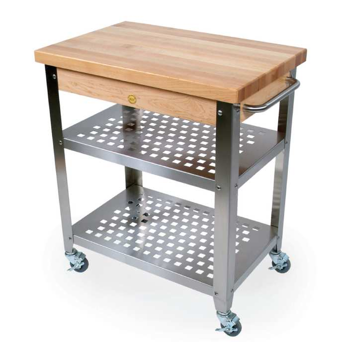 Get Practical And Movable Carts With Butcher Blocks On