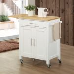 Butcher block top cart with white base consisting cabinet and drawer