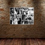 Canvas collage idea consisting the series of wedding photo in black and white
