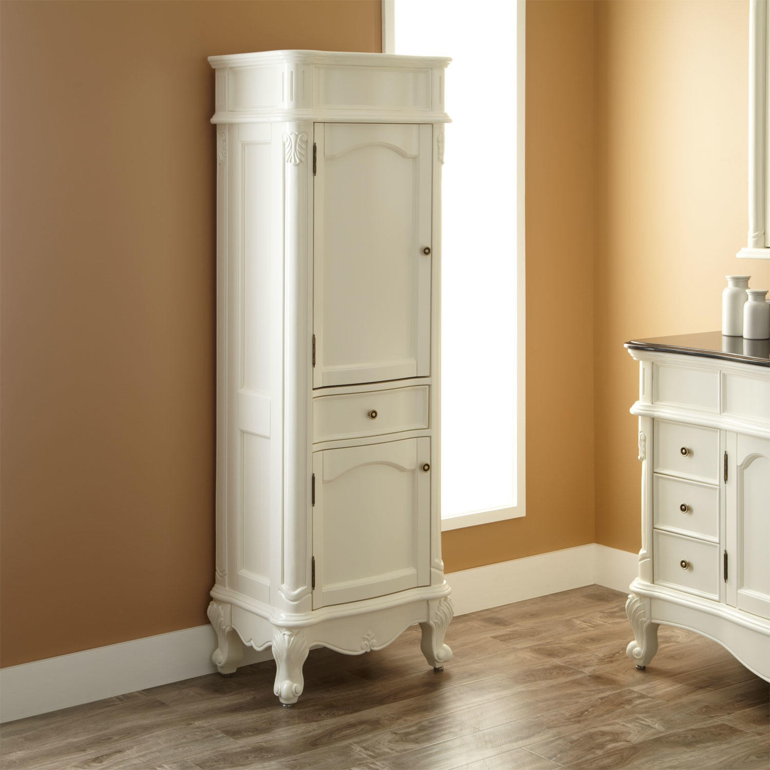 Beau Classic Design Of White Free Standing Linen Closet On Hardwood Floor