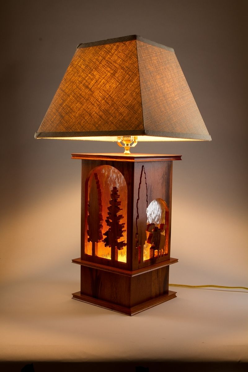 Clic Unique Wooden Tree Design Of 3 Way Table Lamps