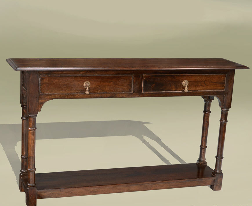 Classic Wooden Narrow Shallow Console Table With Drawers