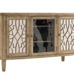 Classic Wooden Style Of Mirrored Media Console With Three Doors