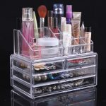 Clear acrylic makeup case with additional makeup holders