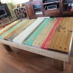 Colorful wood plank top coffee table