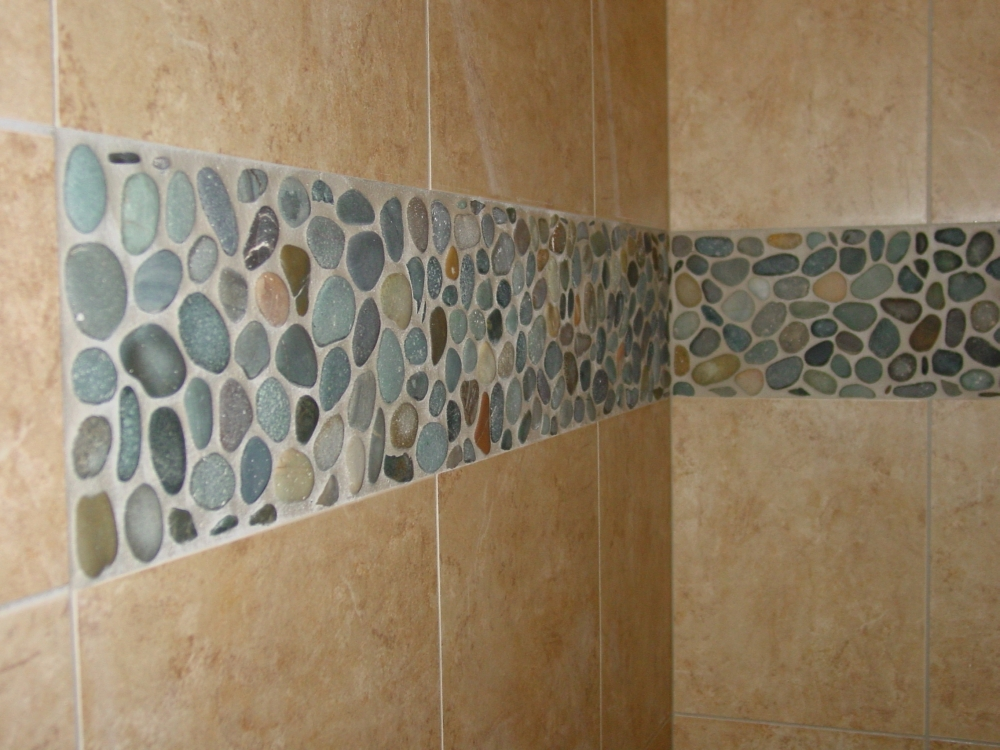 Combination Between River Rock Tile Sheets On Wall With Ceramic
