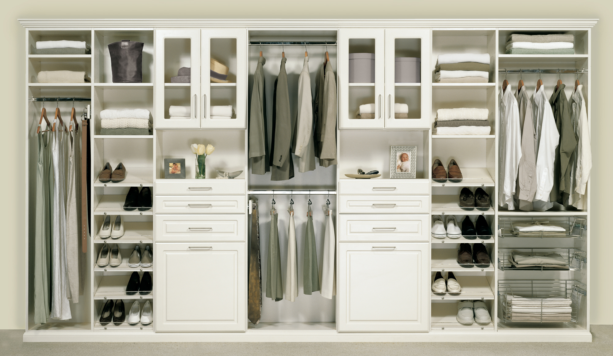 Genial Complete White Closet Storage Cabinet In Wooden Style
