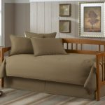 Contemporary Daybed Covers With Cool Brown Pillow Mattres And Wooden Frame