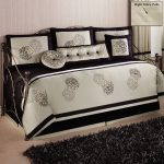 Contemporary Daybed Covers With Luxury Pattern Design White Black Color Plus Fur Rug