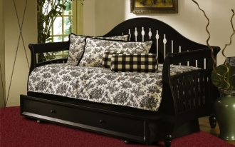 Contemporary Extra Long Twin Daybed With Black Wooden Bed Frame And Storage