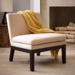 Contemporary White Slipper Chair With Dark Woooden Legs