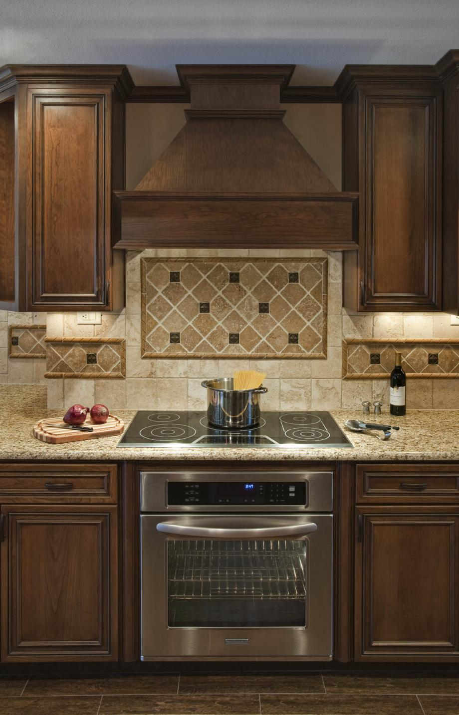Bon Contemporary Wood Vent Hood With Metal Grey Stove And Pretty Backsplash Tile