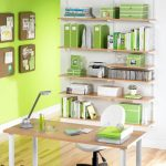 Cool Green Office Ideas On Wall Shelves With White Chair And Wooden Desk