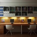 Cool Home Office Ideas With Book Racks And Wooden Desk