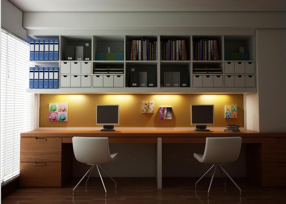 Cool Home Office Spaces. Cool Home Office Ideas With Book Racks And Wooden  Desk Spaces